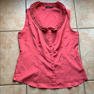 3/$30 The Limited Pink Pleated Ruffle Tank Large